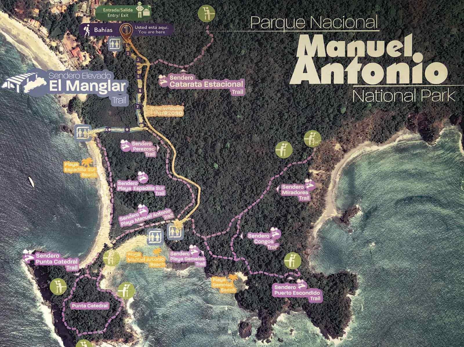 Manuel Antonio National Park wandelroutes