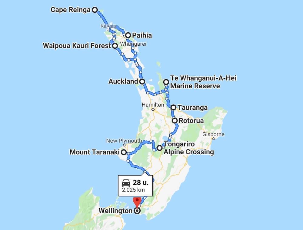 Reisroute Noordereiland Nieuw Zeeland