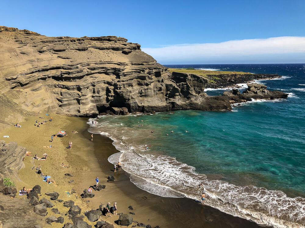 Papakolea Beach Big Island - Bijzonder groen zandstrand