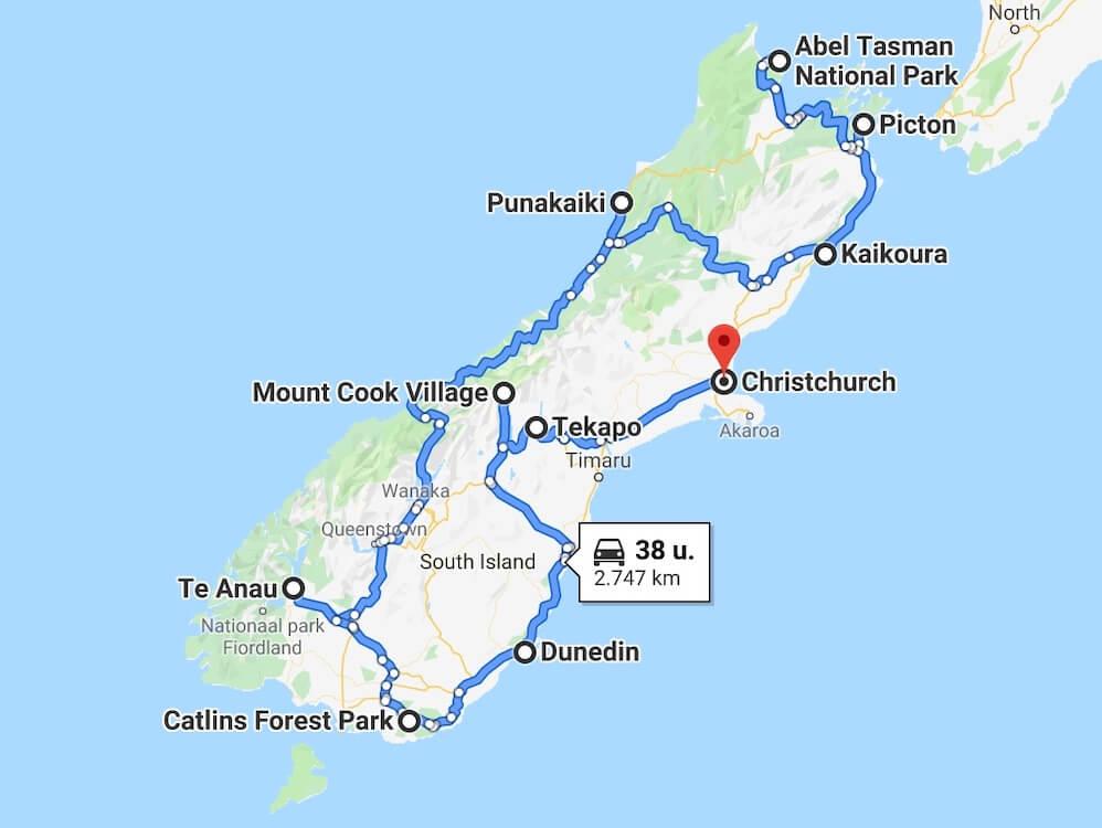 Reisroute Zuidereiland Nieuw Zeeland