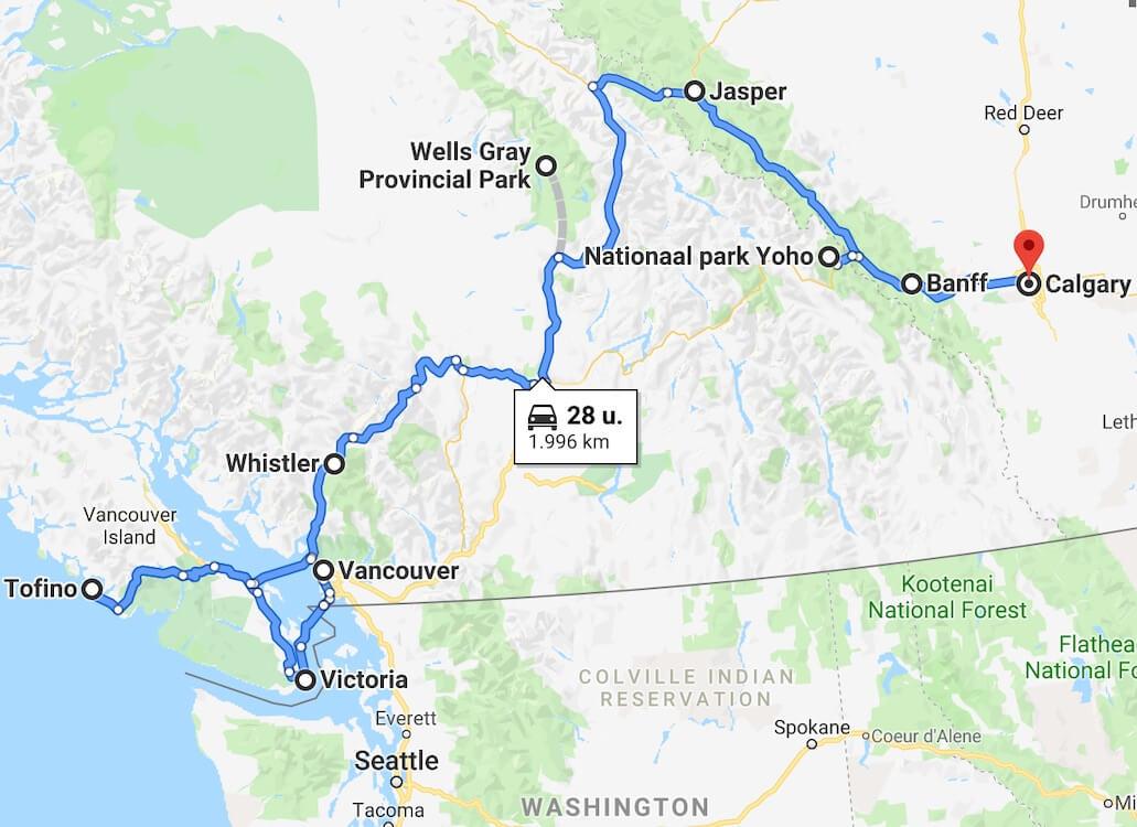 Rondreis West-Canada - 3 weken reisroute