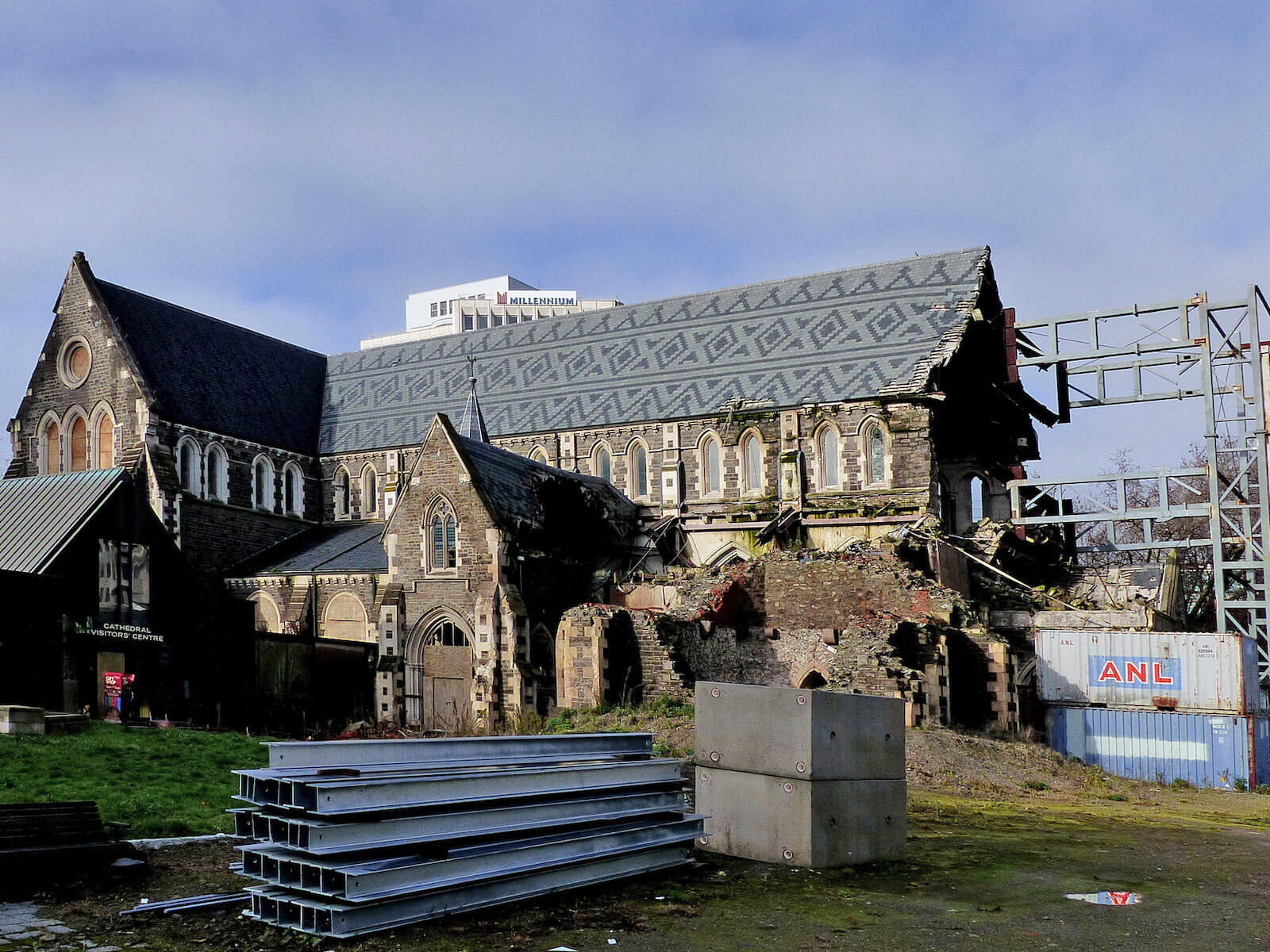 Christchurch Kathedraal na de aardbeving