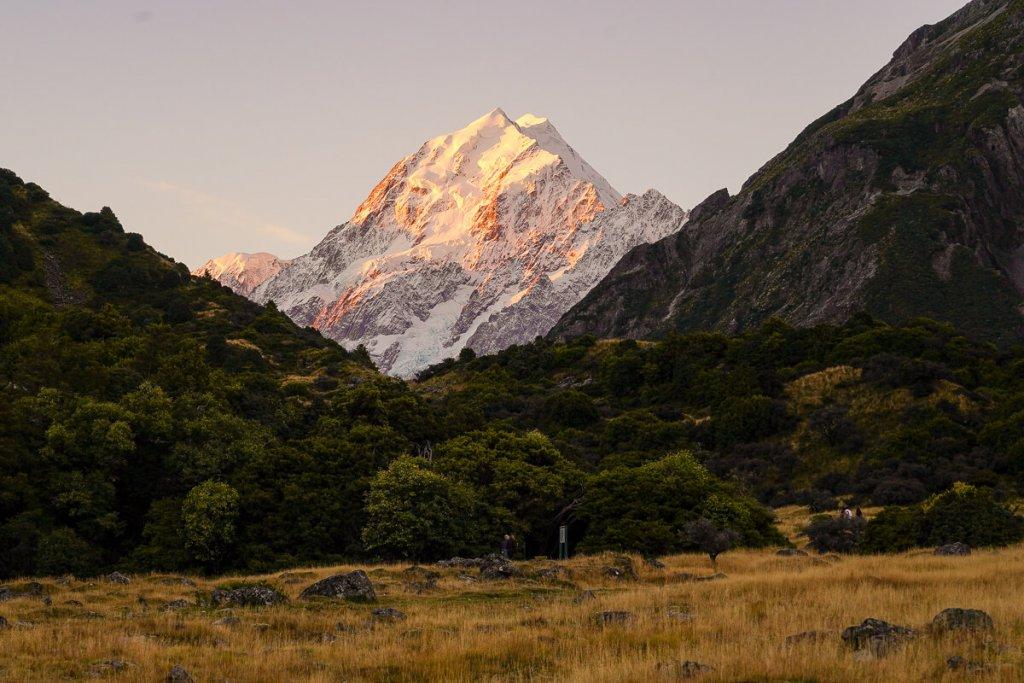 Mount Cook zonsondergang