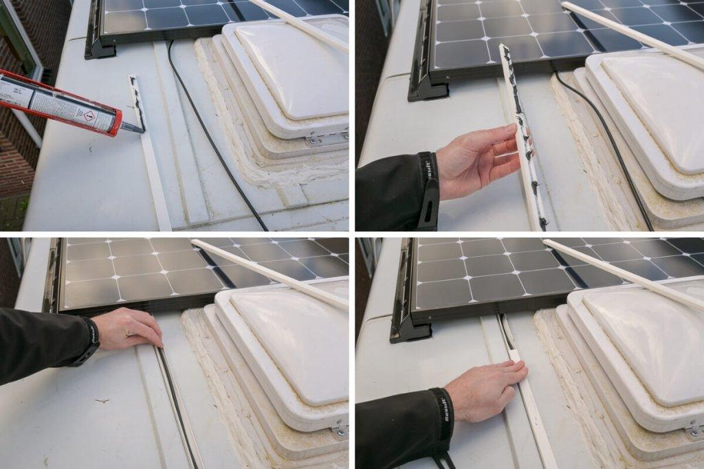 Kabels zonnepaneel wegwerken in gootjes - by NOMADS