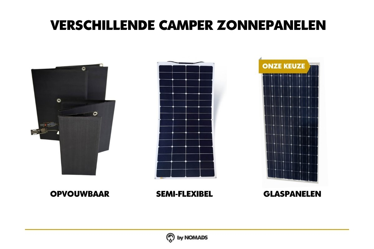 Verschillende zonnepanelen camper