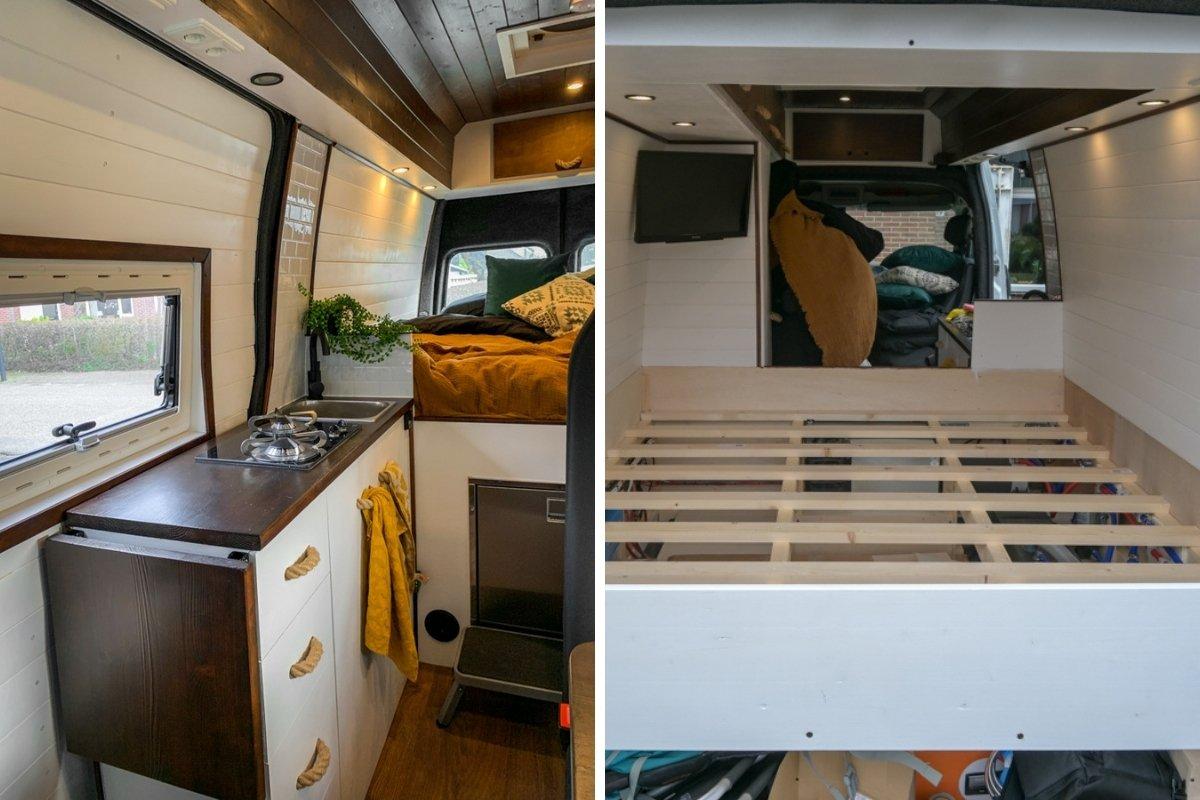 Betimmering & bed van onze bus