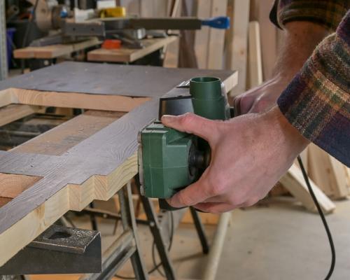 Camper bouwen gereedschap - schaafmachine